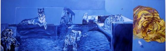 Tigre N°3, Calme après après-midi chez bébé tigre, 2008, Huile sur toile, 150x470 cm ; copyrights Adagp Paris
