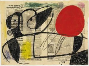 22. Joan Miró, Personnage devant le soleil, 1975 ; Fusain, pastel et gouache sur  feuille de journal ; 49x66.5cm © Archives Fondation Maeght ; Successió Miró,  Adagp Paris 2009