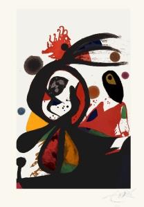 47. Joan Miró, Aigrette rouge, 1976 ; Eau-forte, Aquatinte, Carborundum ;   138.5x96.3cm © Photo Galerie Maeght ; Successió Miró, Adagp Paris 2009