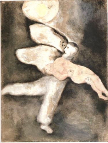 Chagall (1887-1985) Dieu crée l'homme, Illustration pour La Bible, 1930, Gouache sur papier, 64 x 48 cm, Nice, Musée national Marc Chagall, donation en 1972