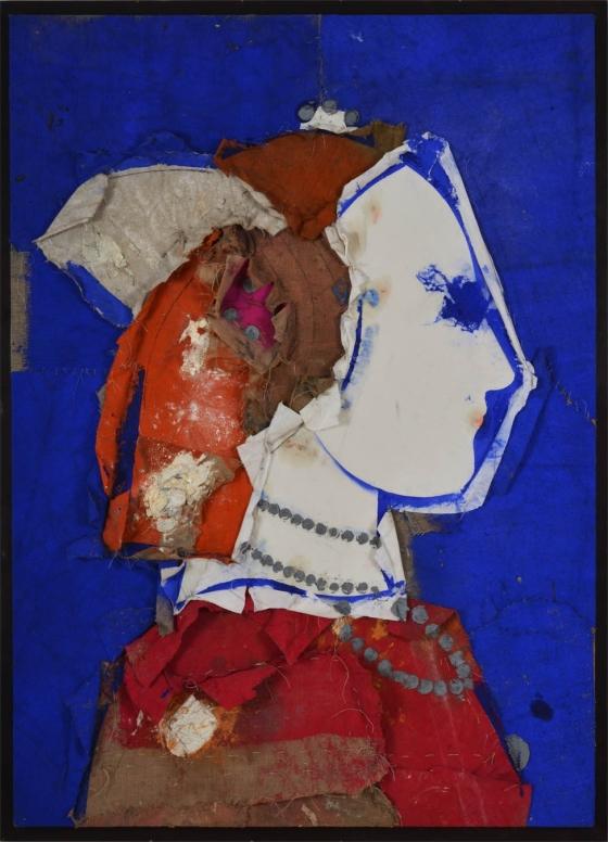 Valdes, Perfil sobre fondo azul, 2012, huile sur toile de jute, 170,2 x 121,92 cm