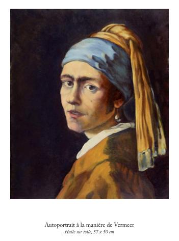 Alexandre Alfandari, Autoportrait à la manière de Vermeer, huile sur toile 57 x 50 cm