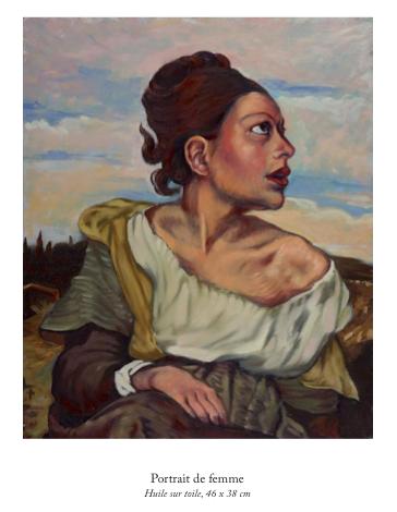 Portrait de femme, huile sur toile, 46 x 38 cm