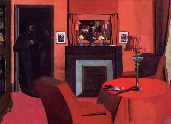 Félix Vallotton, La Chambre rouge, 1898, tempera sur carton, 50 x 68,5 cm, Lausanne, musée cantonal des Beaux-Arts, acquisition 1983 © musée cantonal des Beaux-Arts de Lausanne / Photo J.-C. Ducret