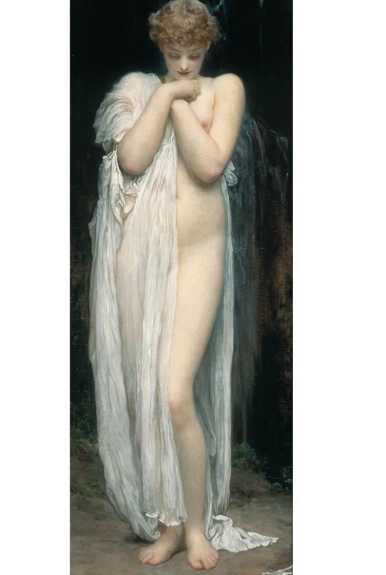 Frederic Lord Leighton : Crenaia, la nymphe de la rivière Dargle, 1880.Huile sur toile, 76,8 cm x 27,2. Studio Sébert photographes.