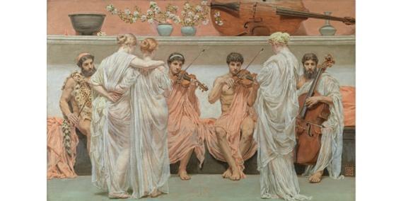 Albert J. Moore : Le Quatuor, hommage du peintre à l'art de la musique, 1868. huile sur toile, 88,7 cm x 61,8. Studio Sébert photographes.